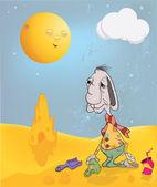 The rabbit plays to a sandbox. Cartoon — Stock Vector
