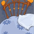 Old bed and pillow - Stock Vector
