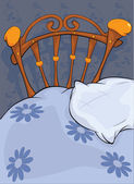 Old bed and pillow — Stock Vector