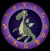 Zodiac signs. A dragon — Stock Vector