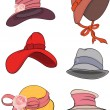 Complete set of female hats — Stok Vektör #8565897