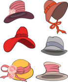 The complete set of female hats — 图库矢量图片