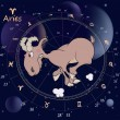 Stock Vector: Zodiac signs. Aries. Cartoon