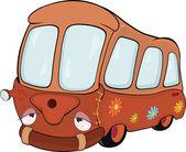 The little red school bus. Cartoon — Stock Vector