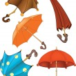 Complete set of umbrellas . Cartoon — Stock Vector
