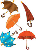 Complete set of umbrellas . Cartoon — Stockvector