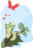 冬虫夏草と蝶。漫画 — ストックベクタ