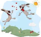 Rabbits and love. A meeting. Cartoon — Stock Vector
