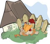 About a hen and a cock.Family. Cartoon — Stock Vector