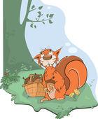 The squirrel and acorns. Cartoon — Stock Vector