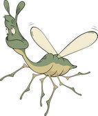 Little green mosquito.Cartoon — Stock Vector