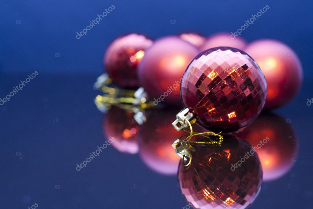 2012 Christmas Decoration. Red  baubles reflected in mirror — Stock Photo #8057349