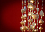 Valentine's Day Gold Heart Garland — Stock Photo