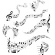 Set of musical notes staff — Stock Vector