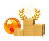 Shipping box - pedestal — Stock Vector