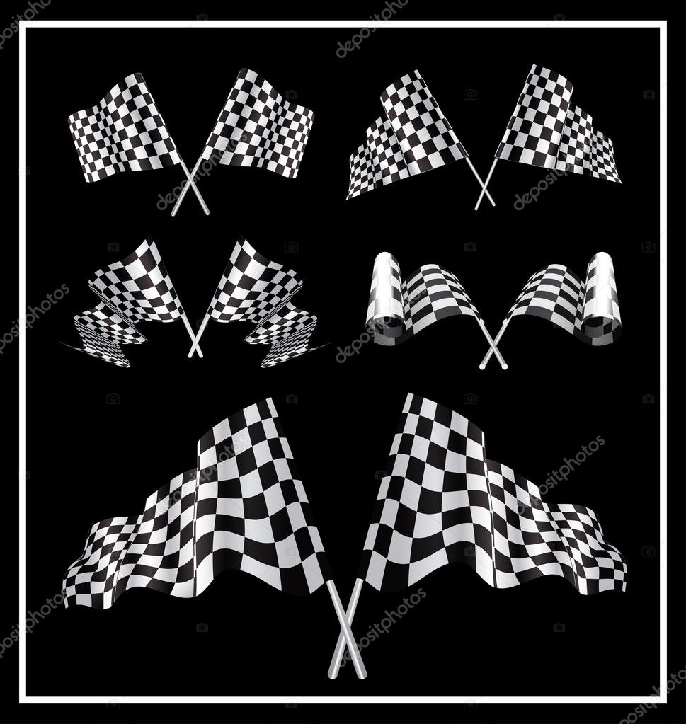 Checkered Flags set illustration on black background. — Stock Vector #9657606