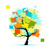 Art tree with stickers for your design — Stockvector
