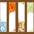 Stock Vector: Four seasons - spring, summer, autumn, winter. Banners with place for your text