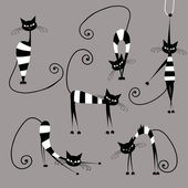 Funny striped cats, collection for your design — Stock Vector