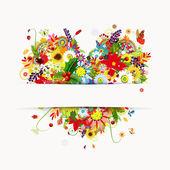 Disegno di carta regalo con cuore floreale, quattro stagioni — Vettoriale Stock