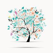 Present kortdesign med blommig träd — Stockvektor