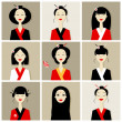 Asian women portraits, collection for your design — Stock Vector #10443565
