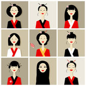 Asian women portraits, collection for your design — Stock Vector