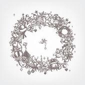 Weihnachten frame, skizze, zeichnung für ihr design — Stockvektor