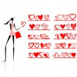 Valentine day. Girl in shop with hearts — Stock Vector