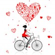 Royalty-Free Stock Vector Image: Girl cycling with big red heart for valentine day