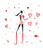 Valentine day. Girl with big red heart — Stock Vector
