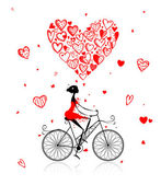Girl cycling with big red heart for valentine day — Stock Vector