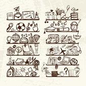 Objets pour l'école sur les étagères, croquis dessin pour votre conception — Vecteur