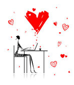 Valentine day. Girl with laptop in cafe — Stock Vector