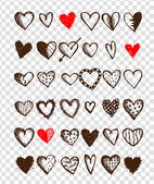 Set of valentine hearts for your design — Stockvector