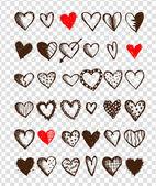 Sevgililer günü kalpleri, tasarım kümesi — Stok Vektör