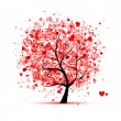 Stock Vector: Valentine tree with hearts for your design