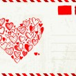 Valentine envelope with red heart sketch and place for your text - Imagens vectoriais em stock