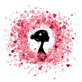 Valentine rámovou konstrukcí s ženská silueta — Stock vektor