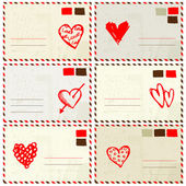 Valentine envelope with red heart sketch and place for your text — Stock Vector