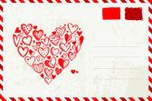 红色的心情人节信封素描和地方为您的文本 — 图库矢量图片
