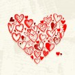 Valentine hearts on grunge background for your design — Image vectorielle