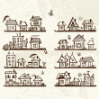Sketch of cute houses on shelves for your design — 图库矢量图片