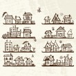 Stock Vector: Sketch of cute houses on shelves for your design