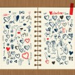 Valentine sketch on notebook sheet for your design — Stock Vector