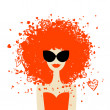 Woman portrait with orange hairstyle, summer style for your design — Stock Vector #9154030
