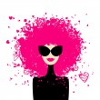 Fashion woman portrait for your design — Stock vektor