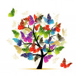 Art tree with butterflies for your design — Stock Vector