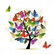Art tree with butterflies for your design — Stock Vector #9155747