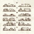Royalty-Free Stock Vectorielle: Set of cars and traffic signs on shop shelves, sketch for your design